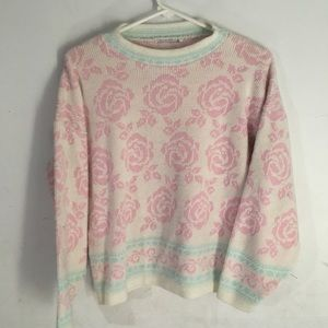 Sweaters - Pastel Vintage Pink White Blue Rose Sweater